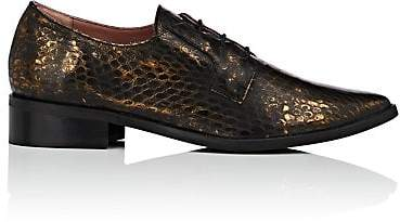 Barneys New York WOMEN'S SNAKESKIN-STAMPED LEATHER OXFORDS - GRAY SIZE 9