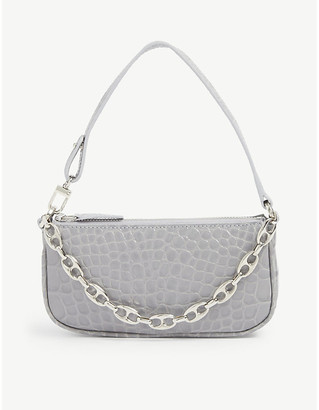 BY FAR Mini Rachel crocodile-embossed deadstock leather shoulder bag