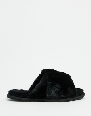 Sorel Go cross strap fluffy slippers in black
