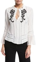 Nanette Lepore Long-Sleeve Embroidered Silk Blouse, White