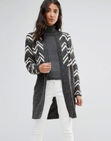 B.young Longline Cardigan in Wave Knit
