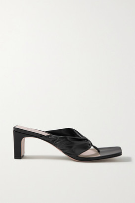 PORTE & PAIRE Gathered Leather Sandals - Black