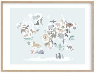 Pottery Barn Kids Wild World Map Wall Art by Minted®, 14x11, Black