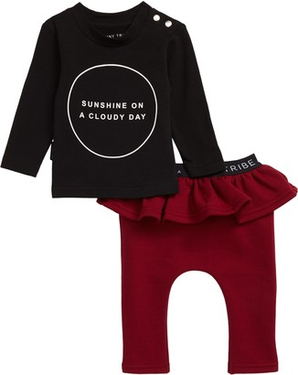 TINY TRIBE Shine Graphic T-Shirt & Ruffle Leggings