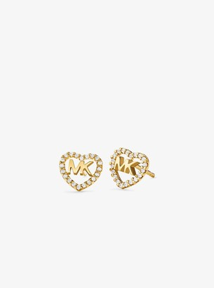 Michael Kors Precious Metal-Plated Sterling Silver Pave Heart Logo Studs