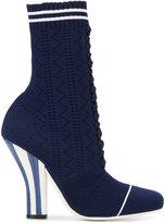 Fendi Lace Up Sock Booties - women - Leather/Spandex/Elastane/rubber - 36