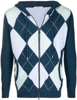 Pringle Argyle-Intarsia Zip-Through Sweater