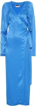 Rotate by Birger Christensen Satin maxi wrap dress