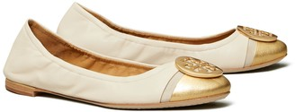 Tory Burch Minnie Metallic Cap-Toe Ballet Flat