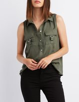 Charlotte Russe Sleeveless D-Ring Button-Up Top
