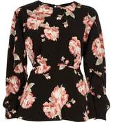 River Island Womens Black floral frill sleeve blouse