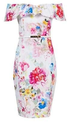 Dorothy Perkins Womens **Showcase Multi Colour 'Peyton' Floral Print Bardot Dress, Multi Colour