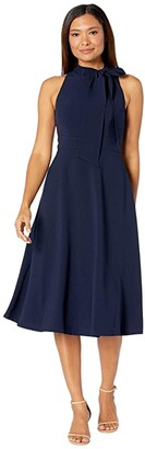 Vince Camuto Kors Crepe Bow Neck Midi (Navy) Women's Clothing