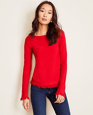 Ann Taylor Petite Seasonless Yarn Fringe Boatneck Sweater