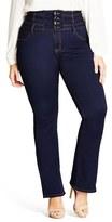 City Chic Corset Waist Stretch Bootleg Jeans (Dark) (Plus Size)