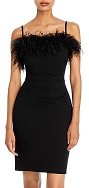 Aqua Feather Trim Mini Dress - 100% Exclusive