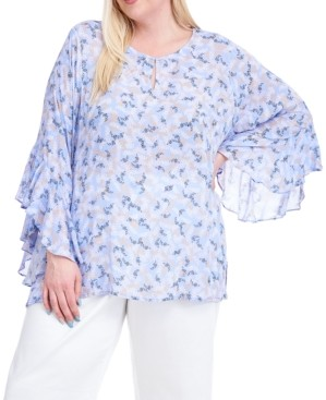 Fever Plus Size Floral-Print Flutter-Sleeve Top