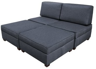 "Red Barrel Studio Anke Revolution Performance Fabrics 72"" Armless Sofa Bed Upholstery Color: Denim Blue"