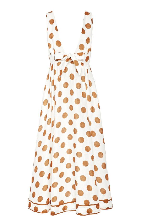 Zimmermann Empire Tie-Detailed Polka-Dot Cotton Maxi Dress