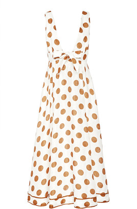 Zimmermann Empire Tie-Detailed Polka-Dot Cotton Maxi Dress