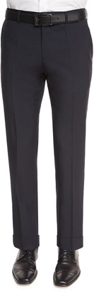 HUGO BOSS Genesis Flat-Front Slim Trousers, Navy