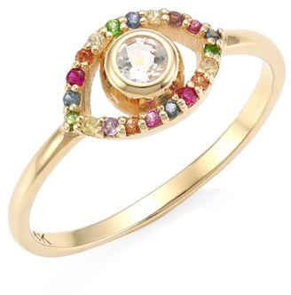 Anzie 14K Yellow Gold, White Topaz & Multicolor Sapphire Evil Eye Ring