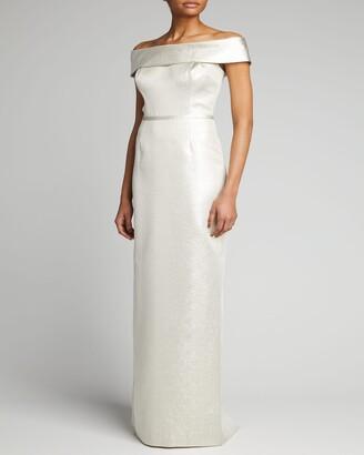 Rickie Freeman For Teri Jon Cuffed Off-the-Shoulder Metallic Column Gown