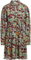 Thumbnail for your product : BA&SH Gathered Floral-print Metallic Mousseline Mini Shirt Dress