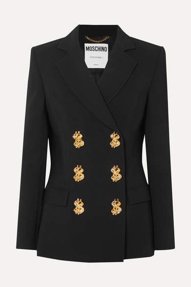 Moschino Double-breasted Embellished Crepe Blazer - Black
