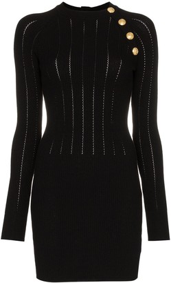 Balmain Button Detail Wool-Blend Mini Dress