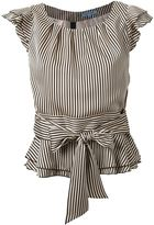 GUILD PRIME pintriped tie waist ruffle sleeve detail blouse