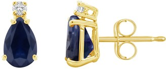 14K Gold Pear-Shaped Gemstone & Diamond-Accent Earrings