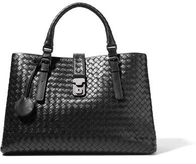 Bottega Veneta Roma Large Intrecciato Leather Tote - Black