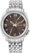 Vince Camuto Brown Dial Coin-Textured Bezel Silvertone Bracelet Watch