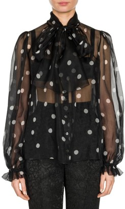 Dolce & Gabbana Polka-Dot Bow Silk Blouse