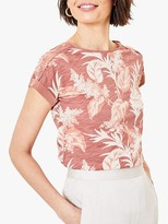 Oasis Tropical Boat Neck Tee, Pale Pink