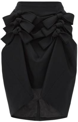 Noir Kei Ninomiya Asymmetric-hem Wool-gabardine Midi Skirt - Womens - Black