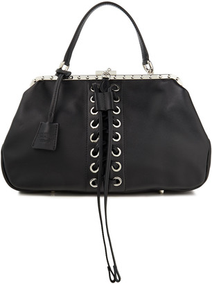 Moschino Lace-up Leather Tote