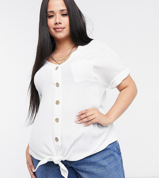 Yours tie front button down blouse in white