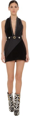 Fausto Puglisi Embellished Lycra & Velvet Mini Dress