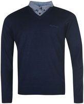 Pierre Cardin Mens New Season V-Neck Knitted Jumper with Mock Shirt Collar Insert (2XL, )