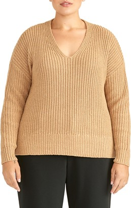 Rachel Roy Collection Chunky V-Neck Pullover Sweater