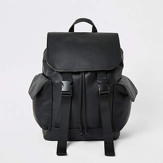 River Island Black double buckle flapover backpack