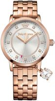 Juicy Couture Socialite Silver Tone Dial Gem Charm Rose Tone Stainelss Steel Bracelet Ladies Watch