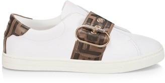 Fendi Logo Strap Leather Sneakers