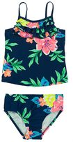 Carter's Girls 4-6x Ruffled Tropical Flower Tankini Top & Bottoms Swimsuit Set