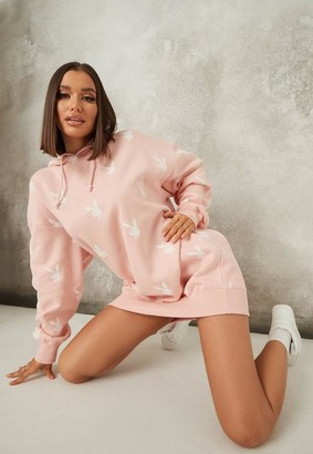 Missguided Playboy X Pink Repeat Print Oversized Hoodie Dress