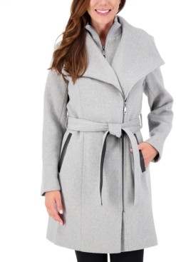 Vince Camuto Petite Belted Asymmetrical Wrap Coat, Created for Macy's