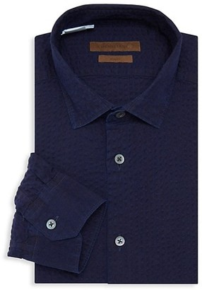 Corneliani Slim-Fit Seersucker Stripe Cotton Dress Shirt