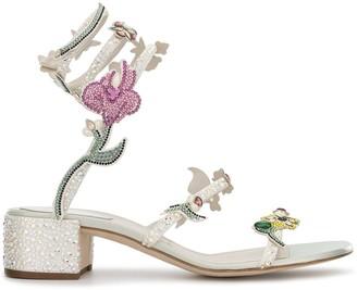 Rene Caovilla Rhinestone-Embellished Floral Sandals